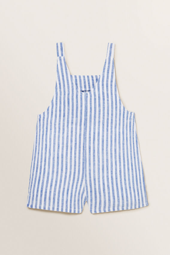 Heart Pocket Dungaree  WHITE/OCEAN BLUE  hi-res