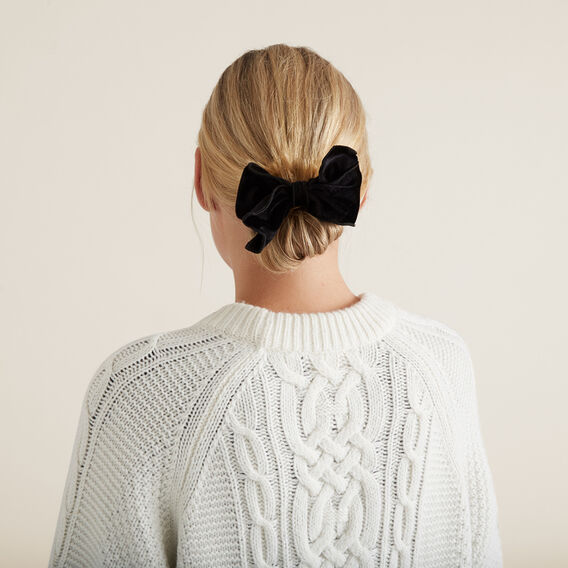 Velvet Bow Scrunchie  BLACK  hi-res