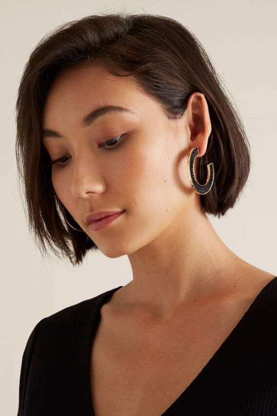 Thread Wrapped Hoops  BLACK  hi-res