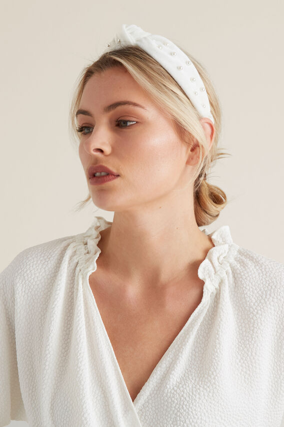 Pearl Knot Headband  CREAM  hi-res