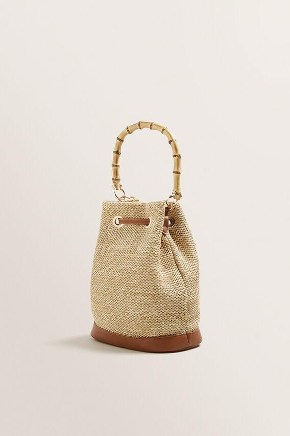 Bamboo Handle Bucket Bag  NATURAL/ TAN  hi-res