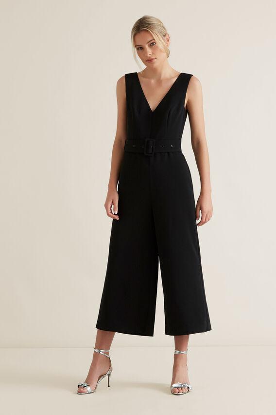 Belted Jumpsuit  BLACK  hi-res