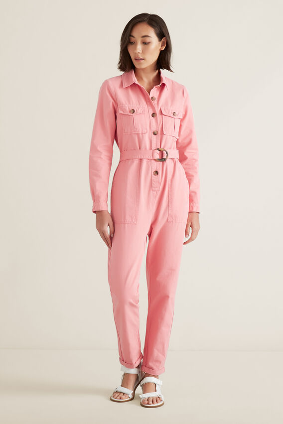 Button Through Jumpsuit  CARNATION PINK  hi-res