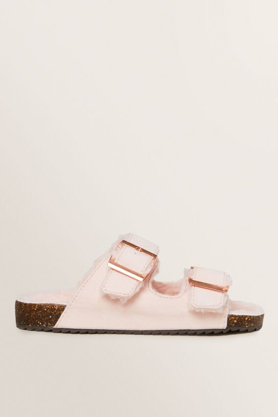 Fur Lined Slide  DUSTY ROSE  hi-res