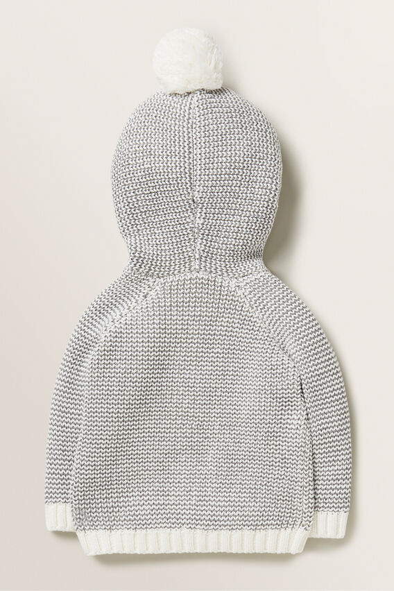 Pom Pom Hooded Cardigan  SLATE MARLE  hi-res