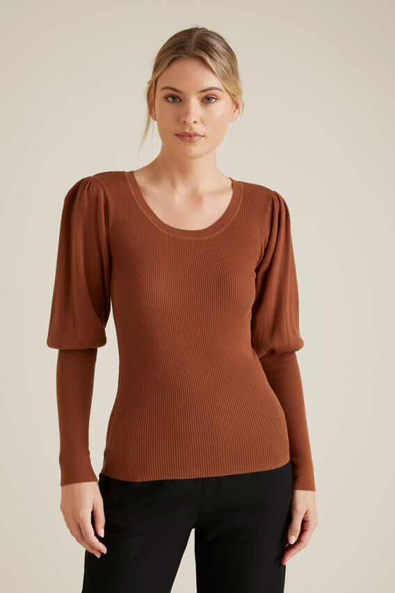 Blouson Sleeve Knit  ORANGE RUST  hi-res