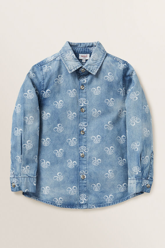 Mouse Print Shirt  MID BLUE WASH  hi-res