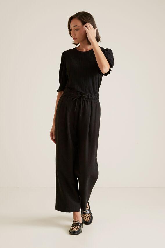 Shirred Sleeve Top  BLACK  hi-res