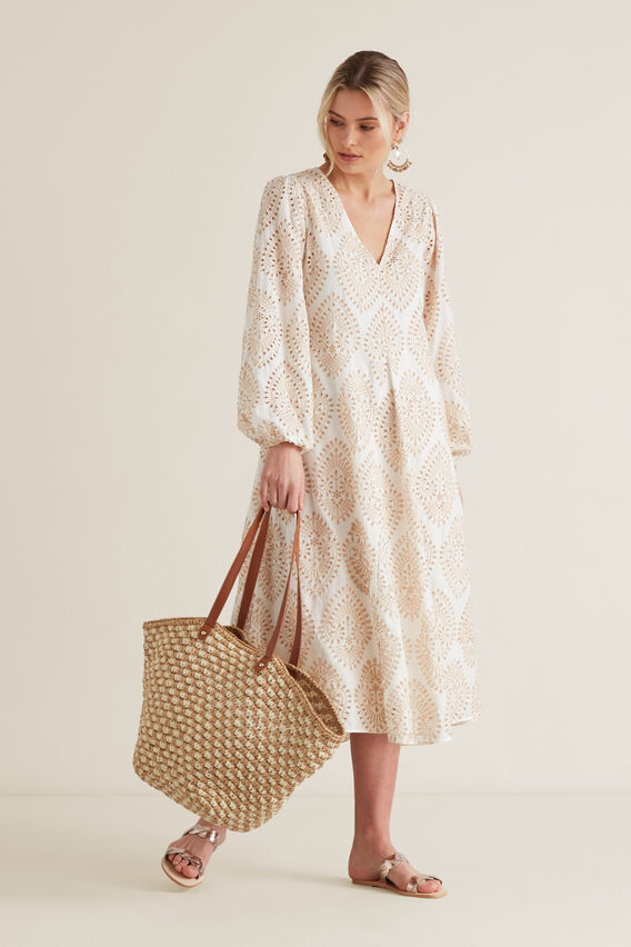 Billowing Broderie Dress  CLOUD CREAM  hi-res