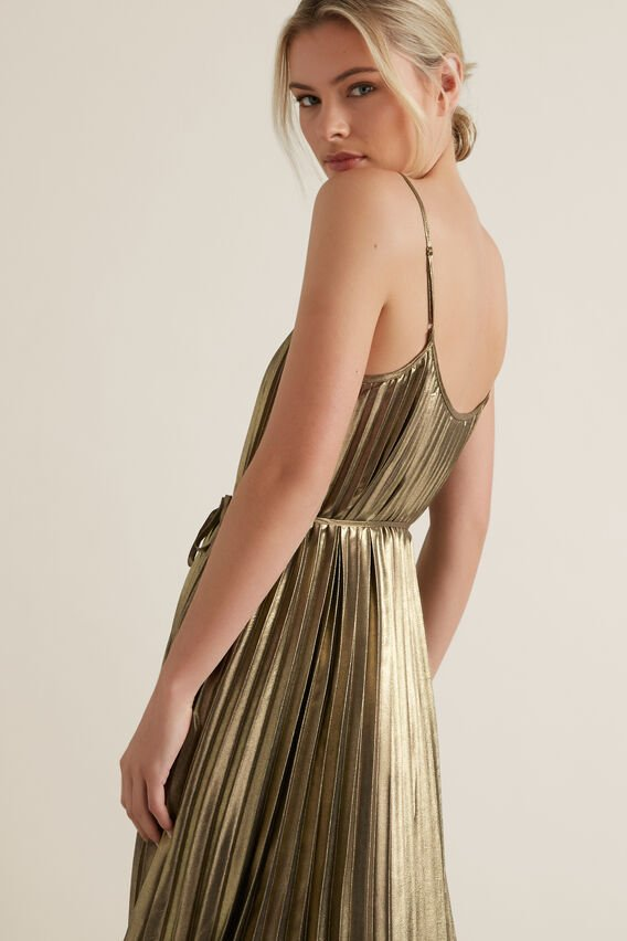 Pleated Lame Dress  GOLD  hi-res
