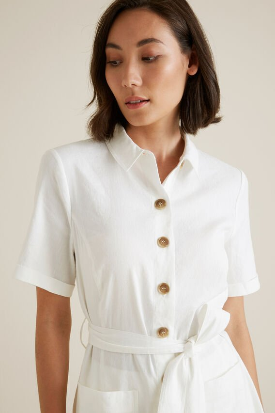 Belted 70's Shirt  CLOUD CREAM  hi-res