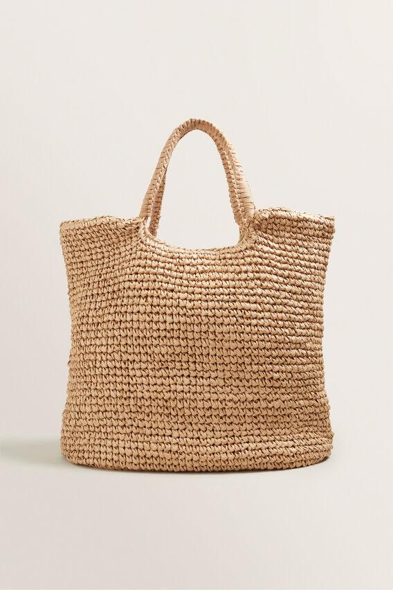 Oversized Straw Beach Bag  NATURAL  hi-res