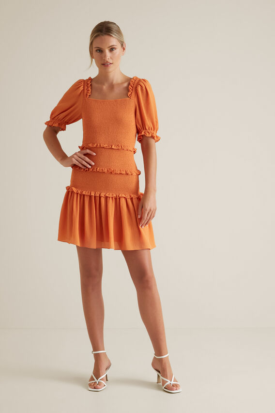 Shirred Mini Dress  SOFT CORAL  hi-res