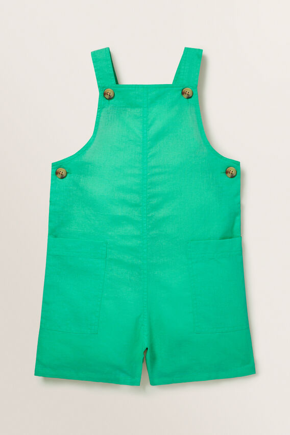 Linen Dungarees  APPLE GREEN  hi-res