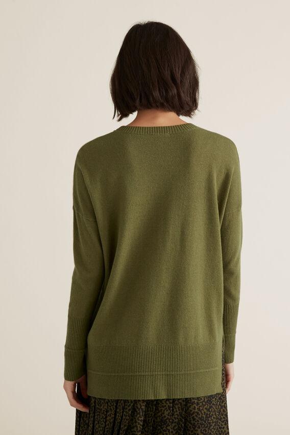 Split Hem Rib Sweater  CEDAR GREEN  hi-res
