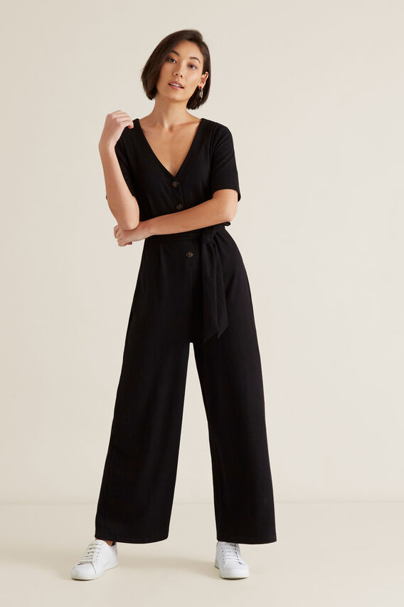 Ribbed Jersey Jumpsuit  BLACK  hi-res