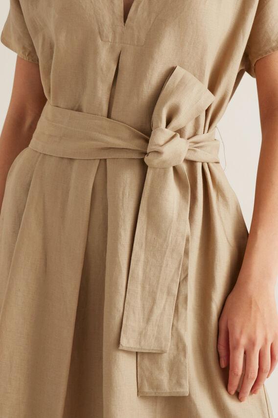 Linen Tie Up Dress  WARM TAN  hi-res