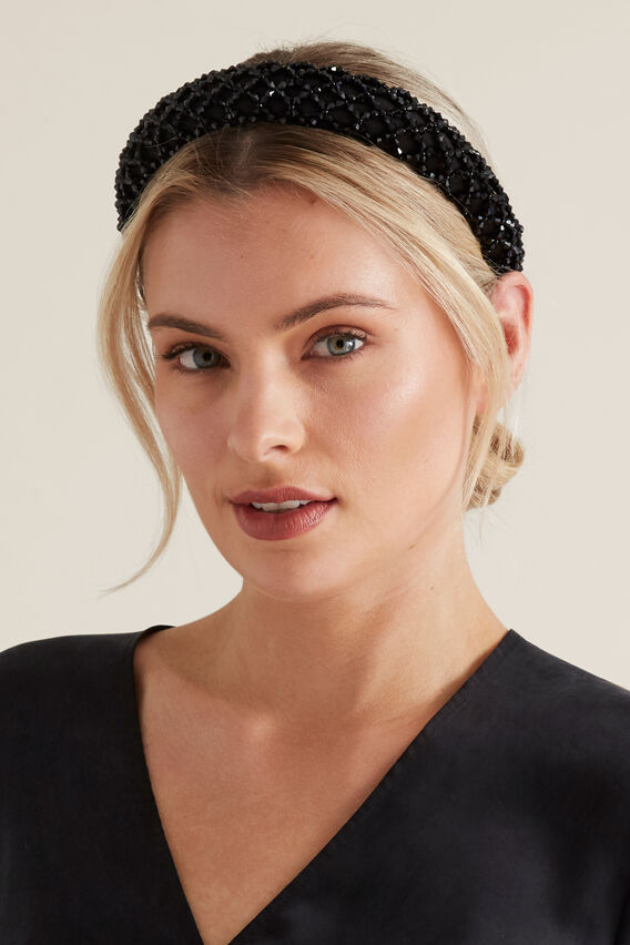 Facet Bead Headband  BLACK  hi-res