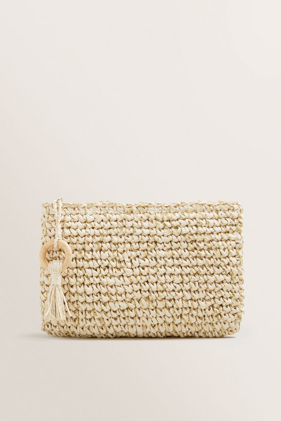 Two Tone Straw Pouch  GOLD/NATURAL  hi-res