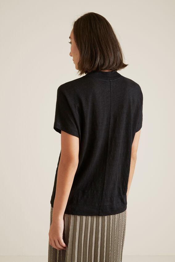 Mock Neck Linen Top  BLACK  hi-res