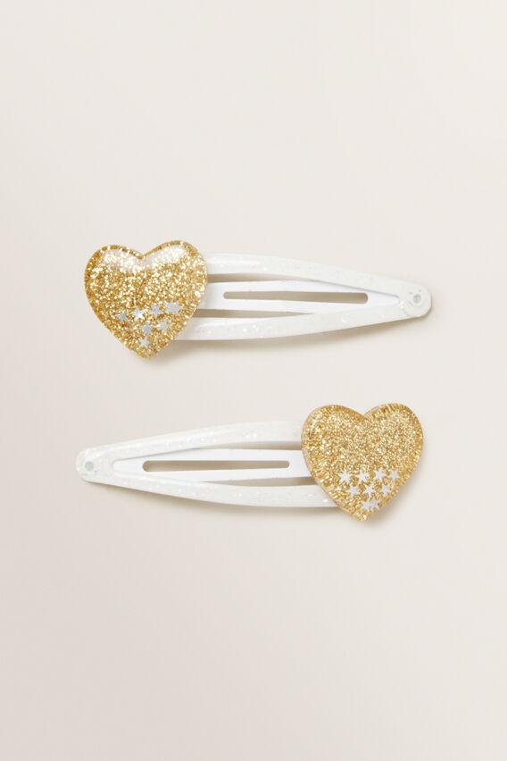 Glitter Heart Snap Pair  GOLD  hi-res