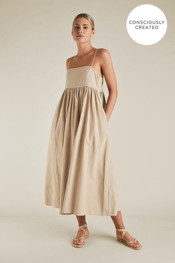 Sustainable Stripe Dress  TEAK STRIPE  hi-res
