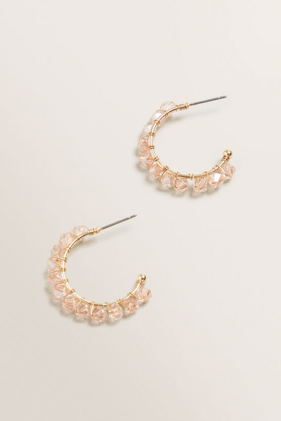Bead Hoops  CANDY PINK  hi-res