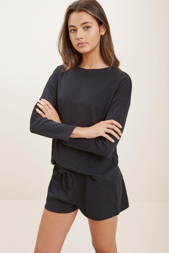 Rib Short Pyjama Set  BLACK  hi-res