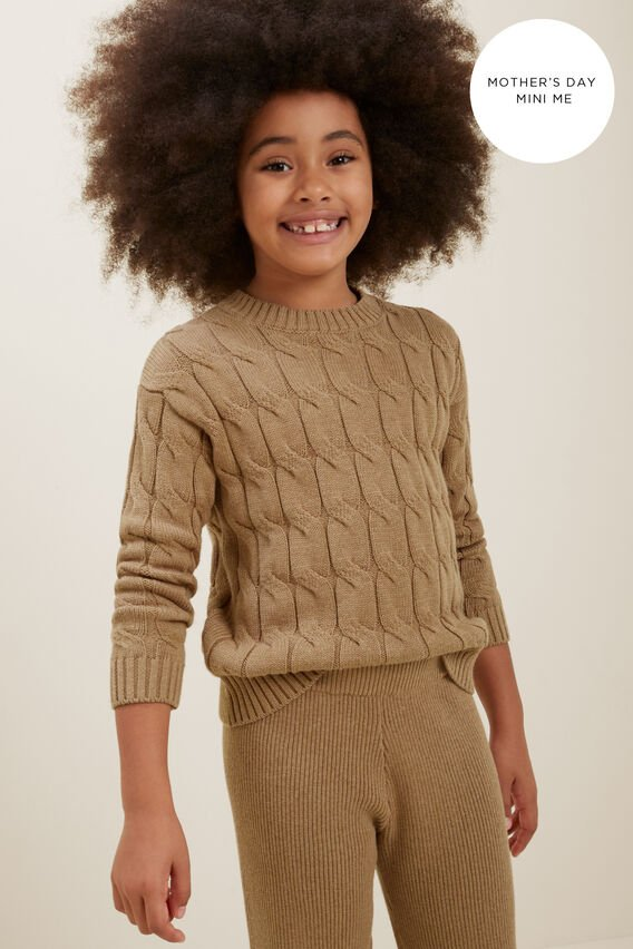 Mini Me Cable Knit Sweater  HONEY DEW MARLE  hi-res