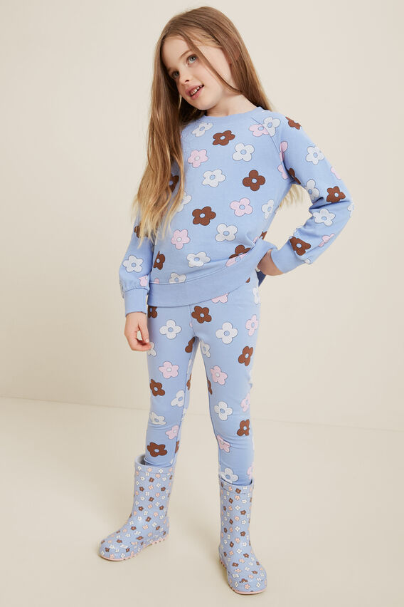 Floral Terry Leggings  BLUEBELL  hi-res
