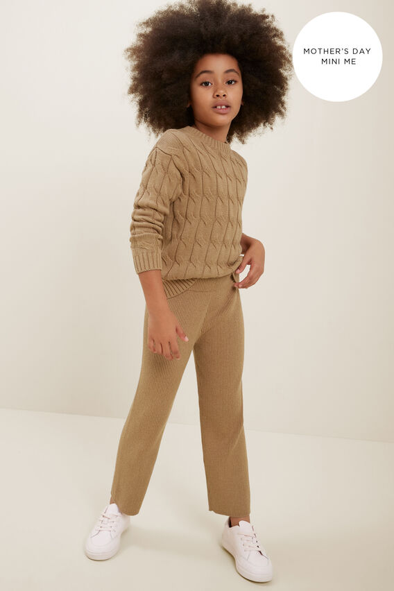 Mini Me Rib Knit Pant  HONEY DEW MARLE  hi-res