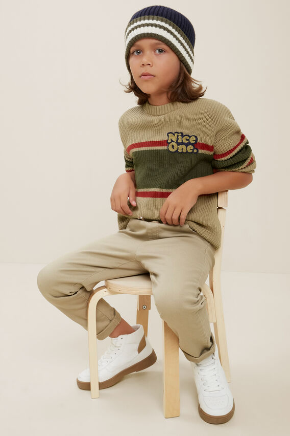 Chunky Crew Knit Sweater  LIGHT OAK  hi-res