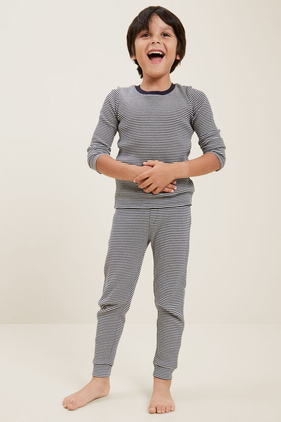 Waffle Stripe Pyjamas  MIDNIGHT BLUE  hi-res
