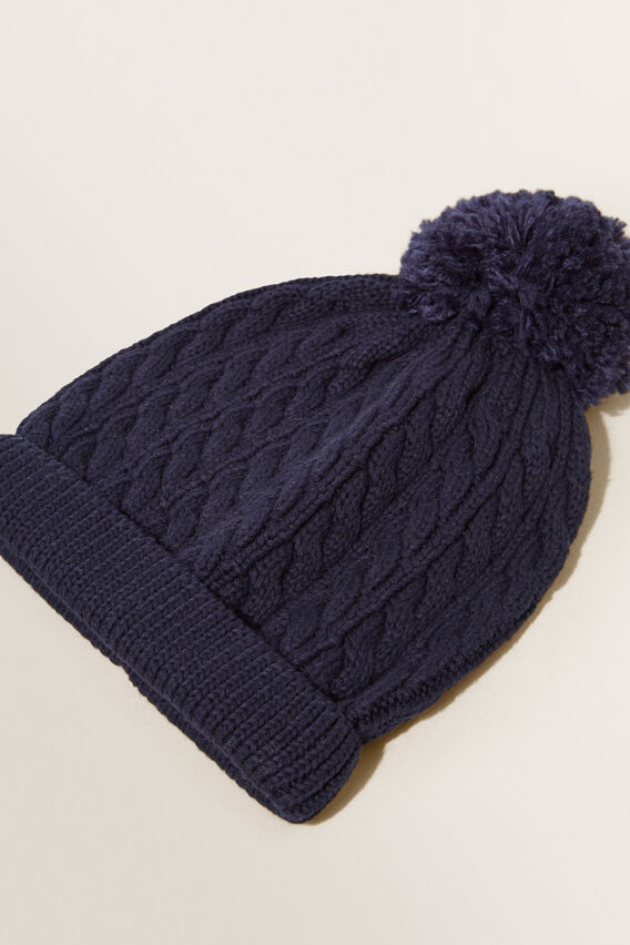 Midnight Blue Cable Knit Beanie  MIDNIGHT BLUE  hi-res