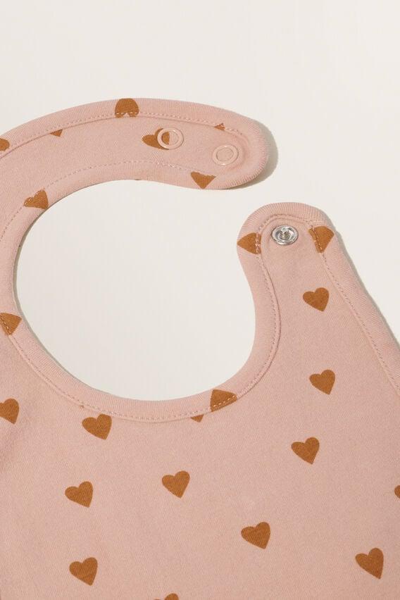 Hearts Bib  PINK CLAY  hi-res