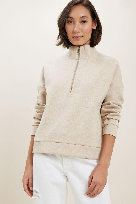 Zip Collared Sweater  CHAMPAGNE BEIGE MARL  hi-res