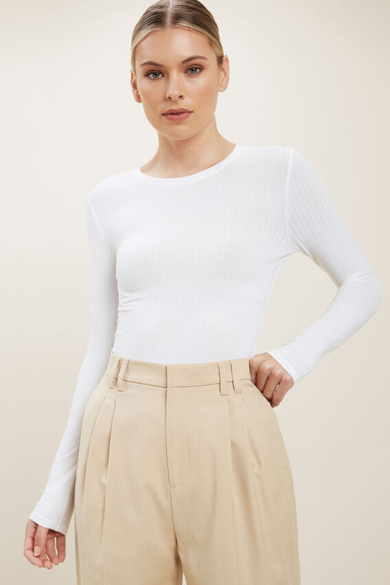 Rib Long Sleeve Top  WHISPER WHITE  hi-res