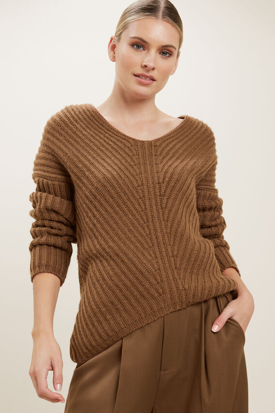 V Neck Rib Sweater  MOLASSES  hi-res