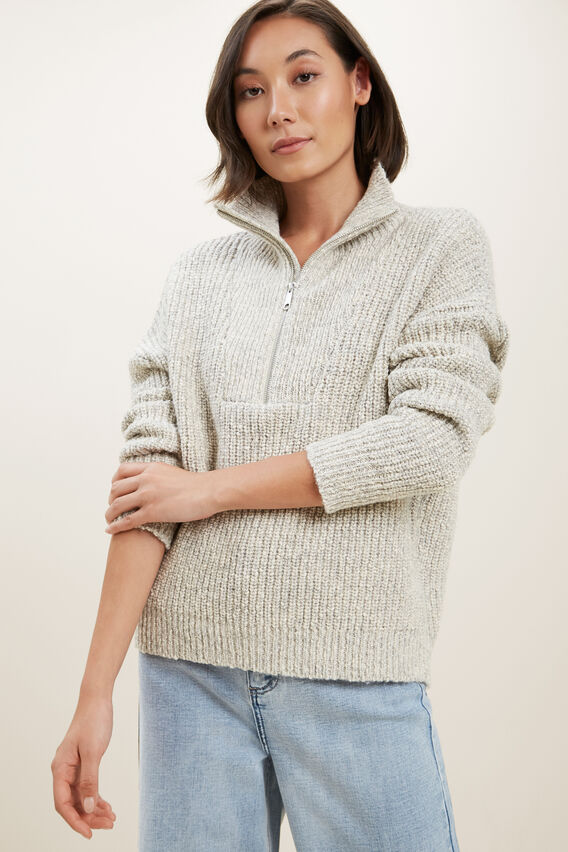 Marle Collared Sweater  COOL GREY TWIST  hi-res