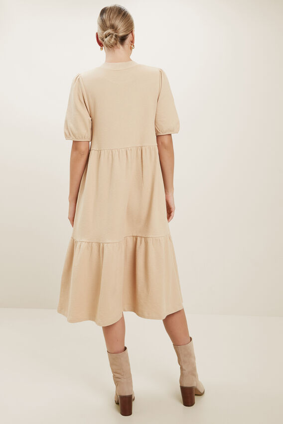 Crepe Tiered Midi Dress  CHAMPAGNE BEIGE  hi-res