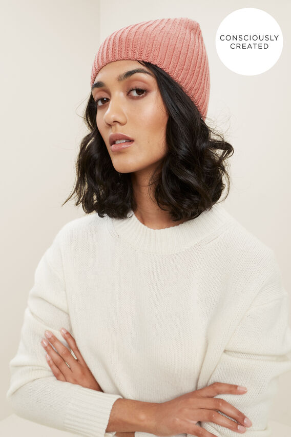 Sustainable Rib Beanie  OLD ROSE  hi-res
