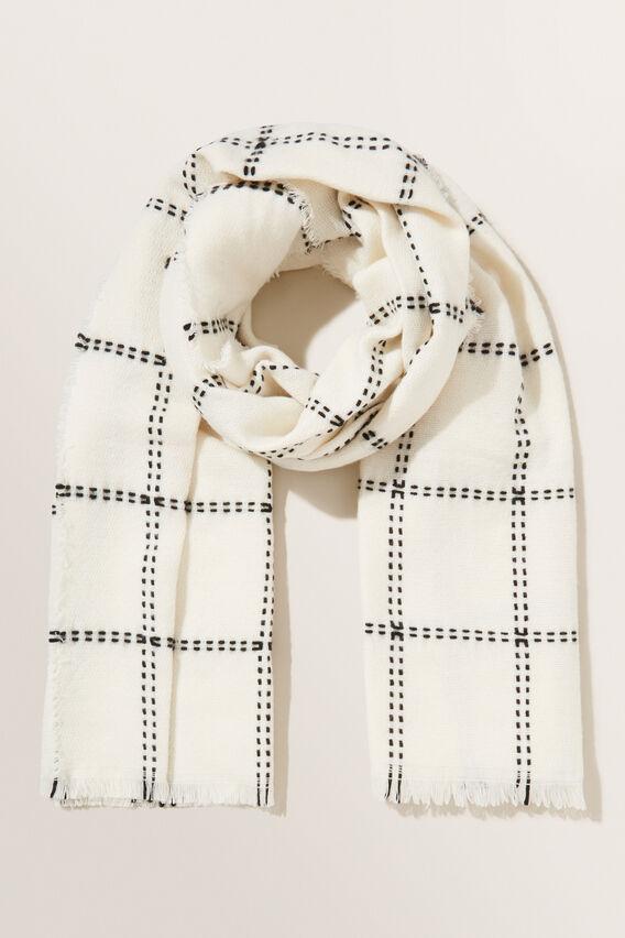 Stitch Check Scarf  FRENCH VANILLA  hi-res