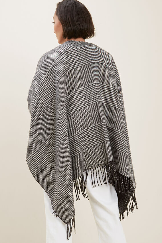 Check Tassel Poncho   BLACK/FRENCH VANILLA  hi-res
