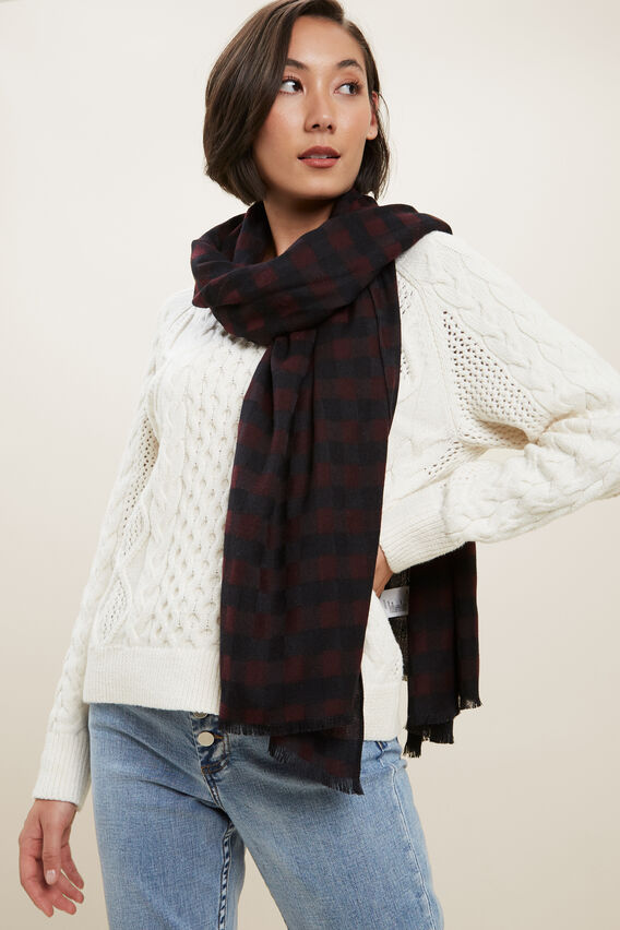 Mini Check Scarf   PLUM BLACK  hi-res