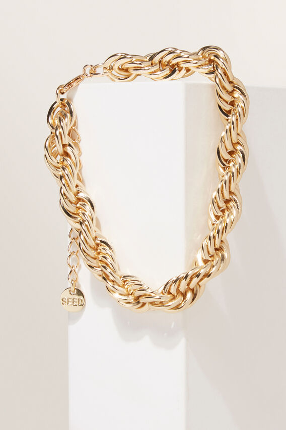 Chunky Rope Chain Bracelet   GOLD  hi-res