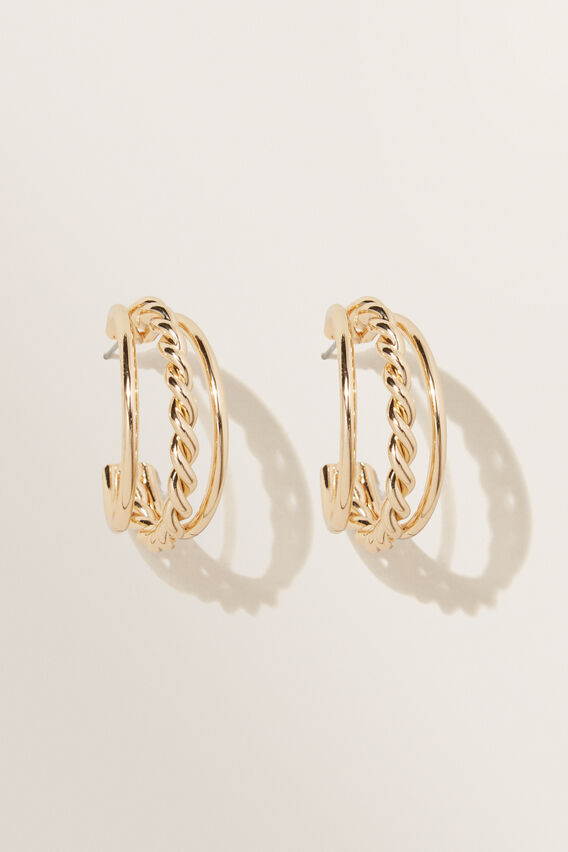 Twist Chain Hoop Earring   GOLD  hi-res