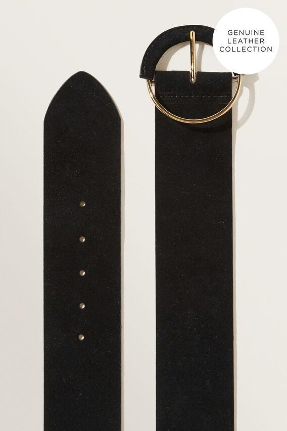 Wide Suede Leather Belt  BLACK  hi-res