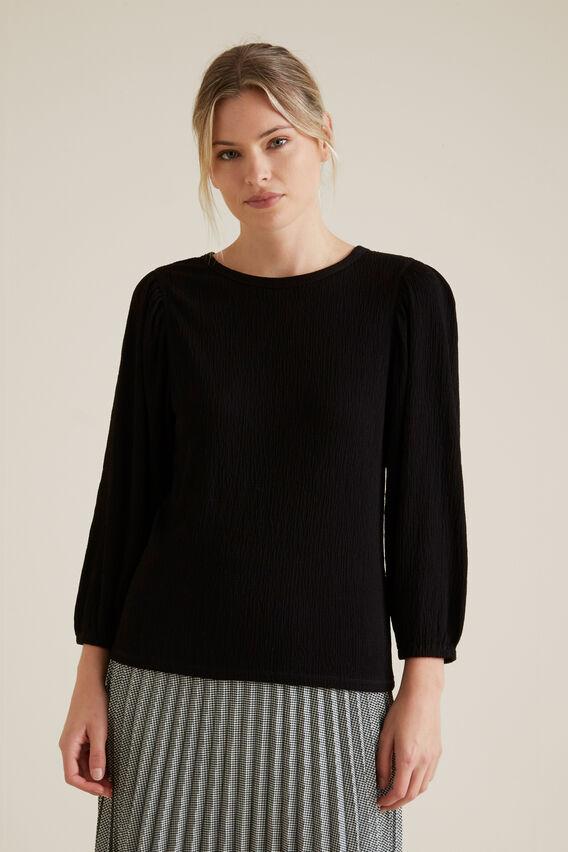 Blouson Puff Sleeve Top  BLACK  hi-res