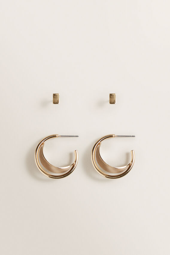 Gold Hoop Stud Pack  GOLD  hi-res