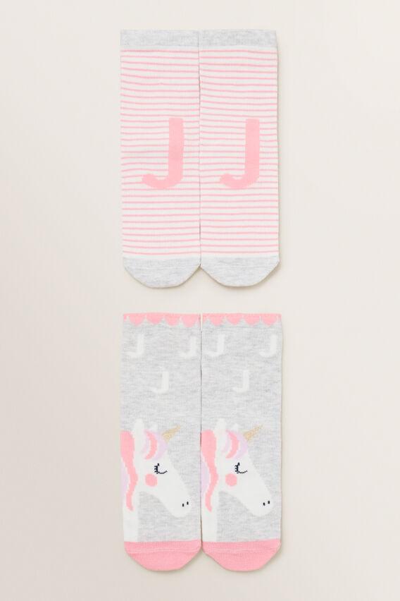 Unicorn Initial Sock 2 Pack  J  hi-res